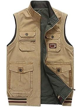 SZAWSL Hombres Chaleco Exterior de Algodón con Multi-bolsillos Posterior Vest para Chaleco de Pesca Fotografía...