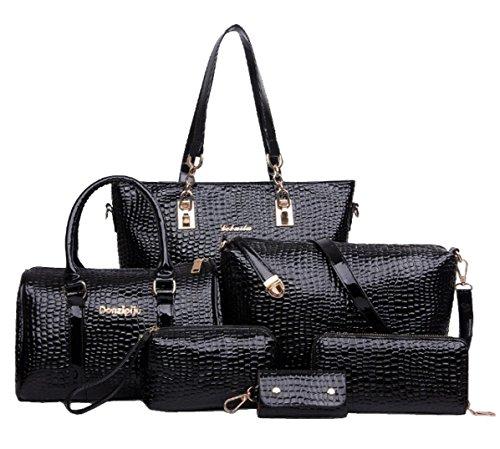 Tibes Borsa Donna in Pelle Donna + Borsa Boston + borsa crossbody + portafoglio + borsa del cellulare + portachiavi 6 pezzi Set Satchel Nero