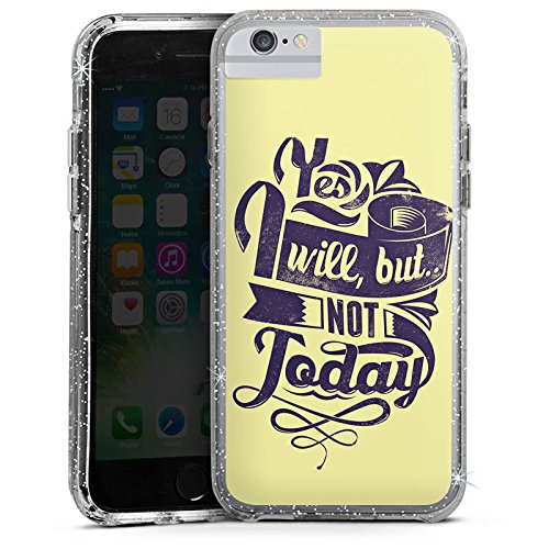 Apple iPhone 6 Bumper Hülle Bumper Case Glitzer Hülle Prokrastination Faulheit Statement Bumper Case Glitzer silber