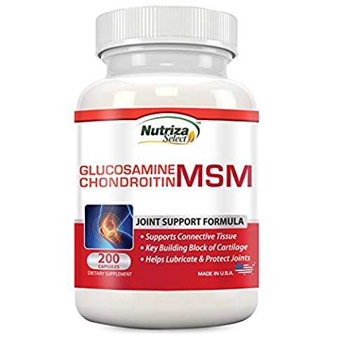 Nutriza Glucosamine Chondroitin MSM Joint Support Supplement, 200 Capsules, Made in USA, GMP Compliant Facility, (Glucosamina Solfato Msm)