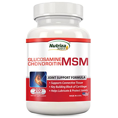 Nutriza Glucosamine Chondroitin MSM Joint Support Supplement, 200 Capsules, Made in USA, GMP Compliant Facility, Builds Cartilage, Supports Joint Health Test