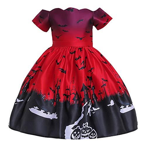 Fuß Kostüm Fledermaus - Riou Partykleid Halloween Kostüm Mädchen Kleider Kurzarm Kürbis Fledermaus Printed Party Costume Cospaly Kostüm für Fasching Karneval Halloween Abendkleid