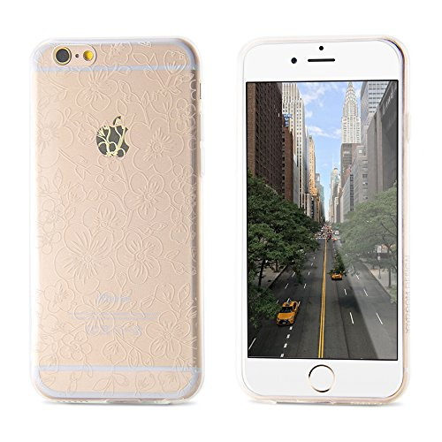 Coque Iphone 6S, Belk [Fleurs] Apple iPhone 6S Étui transparent design Premium Slim Coque rigide pour Apple iPhone Motif fleur 6S (4.7) – Blanc iPhone6/6s pink iPhone6/6s white