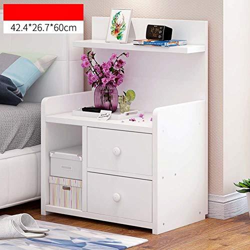 IG Haushalts-Nachttische Mini Wood-Based Panel Nachttisch, mit Schublade und Ablage, Schlafzimmer Locker Nacht Aufbewahrungsbox,# 2,42,4 * 26,7 * 60 cm - 2 Schubladen Naturholz-nachttisch