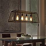 CUICAN Glas klar Pendelleuchte Vintage Rechteckige Deckenlampe Kreativ Wohnzimmer Restaurant Loft Coffee shop Leuchte-B