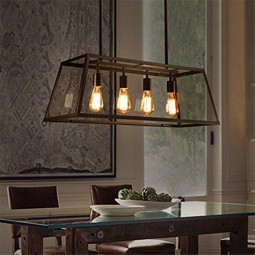 CUICAN Glas klar Pendelleuchte Vintage Rechteckige Deckenlampe Kreativ Wohnzimmer Restaurant Loft Coffee shop Leuchte-B (Glühbirne Klar Appliance)
