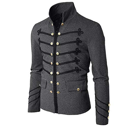 IZHH Herrenmantel, Mode Jacke Gothic Sticken Knopf Mantel Einfarbig Uniform Kostüm Praty Outwear Buttonigan Shirt(Grau,Large)