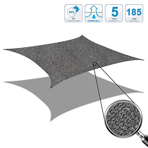 Cool Area 2x2m Quadrat Sonnensegel Sonnenschutz Segel, UV Schutz wetterbeständig HDPE atmungsaktiv...