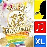 """bentino XXL Glückwuschkarte mit Musik""""18er Geburtstag""""   Geburtstagskarte mit Sound   Grußkarte mit Umschlag A4   Interaktive Klappkarte mit Melodie   Karte mit Licht und Puste-Funktion"""