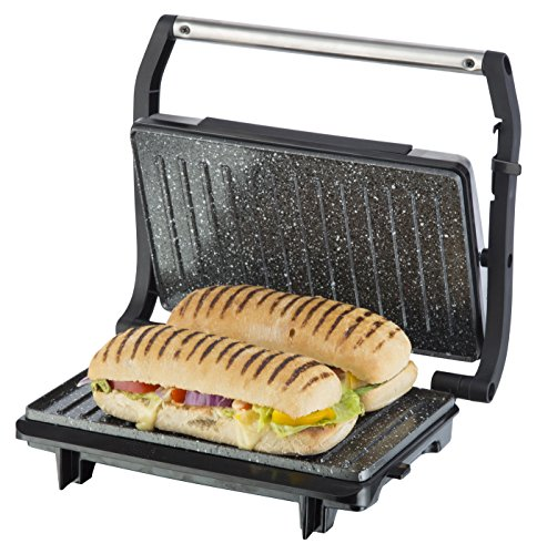 Tower Cerastone T27016 Panini Maker and Grill with Non-Stick Ceramic Coating, 750 Watt, Stainless Steel