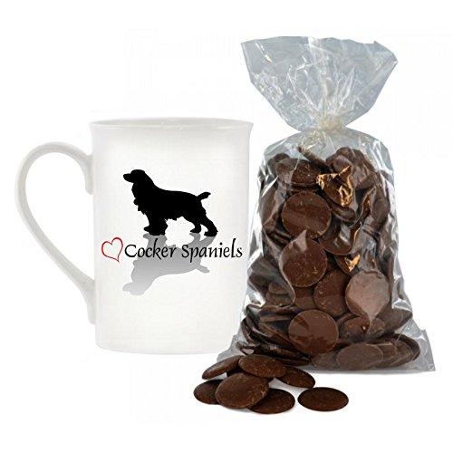 Stilvolle Herz Design Cocker Spaniel Bone China Becher inkl. 200g Beutel von Milch Schokolade Tasten. -