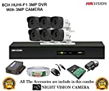 #3: Hikvision 3MP DS-7208HUHI-F1 8CH DVR 1Pcs, Full HD 3MP DS-2CE16F1T-IT Bullet Camera 6Pcs + 1TB HDD + Active Cable Full Combo