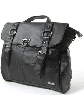 Damen-Ledertasche / Handtasche mit abnehmbarem Schulterriemen (Beige / Schwarz / Braun)