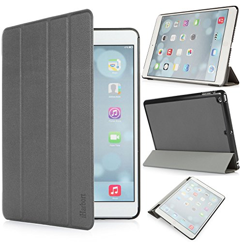 iHarbort® iPad Air Hülle - Premium PU Leder Tasche Hülle Etui Schutzhülle Ständer Smart Cover für iPad Air , mit Schlaf / Wach-up-Funktion, Grau Schweißer Kamera