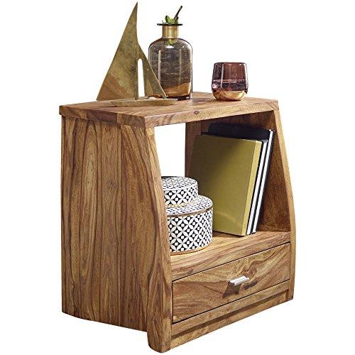 WOHNLING Nachttisch Massiv-Holz Sheesham Nacht-Kommode 53 cm mit 1 Schublade und Ablage Nachtschrank Landhaus-Stil Echt-Holz Nachtköstchen dunkel-braun Nacht-Konsole Natur-Produkt Schlafzimmer-Möbel