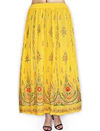 Fabcolors Casual Wear Full Length Rayon Flared Long Skirt With Sequence Embroidery Work ( Yellow )