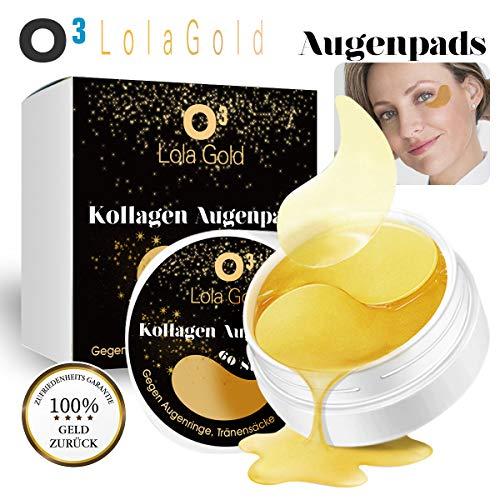 O³ Augenpads // 60 Pads // Kollagen Maske mit 24K Gold Essenz gegen Augenringe, Tränensäcke und Falten//inkl. Deutscher Gebrauchsanweisung // Collagen Eye Patches