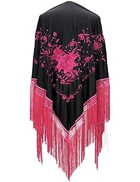 La Señorita Mantones bordados Flamenco Manton de Manila negro flores rosa Large