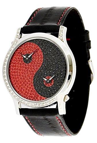 Moog Paris Ying Yang Damen Uhr mit Schwarzem und Rotem Zifferblatt, Swarovski Elements & Schwarzem Armband aus Aal Haut - M44382-001 (Haut Aal Schwarz)