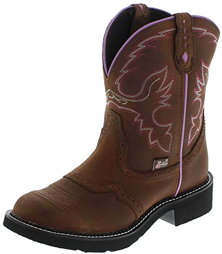 Justin Boots L9903 B Tan/Damen Westernreitstiefel Braun/Damenstiefel/Reitstiefel/Western Riding Boots, Groesse:38 (8 US) (Rindsleder Western-boot Braun)