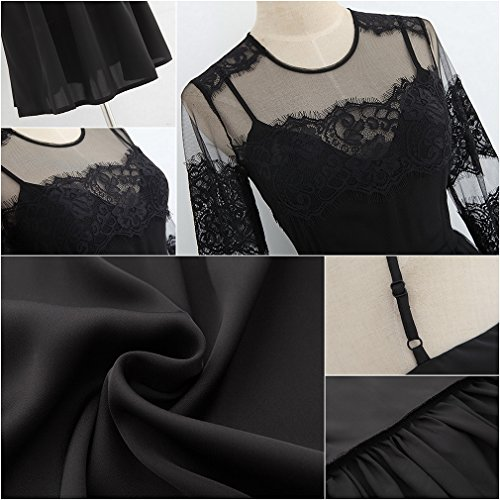 Smile YKK Femme Bretelle Robe Dentelle See-through Manche Longue Noir Noir