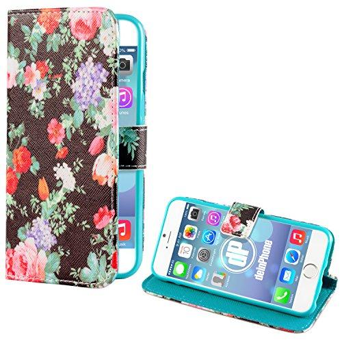 deinphone Apple iPhone 6Plus (5.5) Coque bumper Case Noir/rose Fleurs