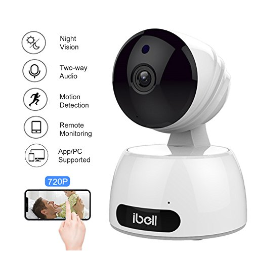 Telecamera wi-fi interno,ibell telecamera di sorveglianza wireless 720p videocamera di sicurezza security home camera,visore notturno, rilevatore di movimenti e suoni,baby monitor compatibile con ios e android e pc