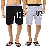 #3: hotfits mens self design cotton shorts (shbk10-shgr01)