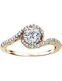 Silvernshine 1.45 Ct White Cubic Zirconia Diamond 14k Rose Gold Plated Wedding Engagment Ring