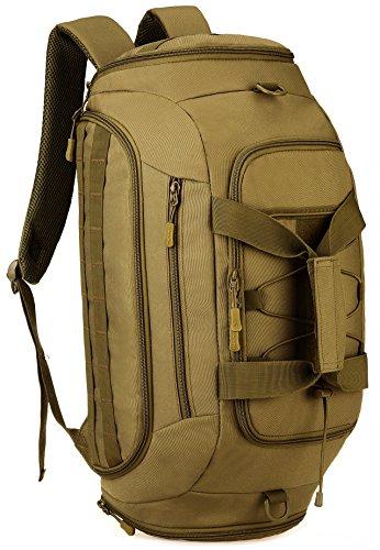 DCCN 35 Liter Weekender Rucksack Sport Duffle Bag Tactical 3in1 Sporttasche Reisetasche Schultertasche für Männer Frauen mit Schuhfach (Braun) -