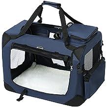 Songmics 81 x 58 x 58 cm Bolsa de transporte para mascotas Transportín plegable para perro Portador Tela Oxford azul oscuro PDC80Z