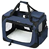 SONGMICS Hundebox Transportbox Auto Hundetransportbox faltbar Katzenbox Oxford Gewebe dunkelblau S 50 x 35 x 35 cm PDC50Z