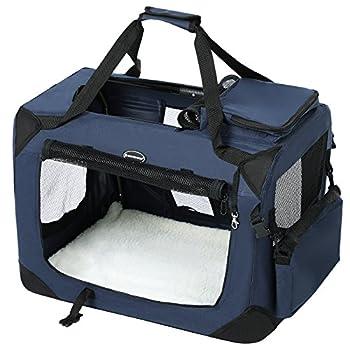 SONGMICS Cage de transport Caisse Sac de transport pliable pour chien animal domestique bleu foncé S 50 x 35 x 35 cm PDC50Z