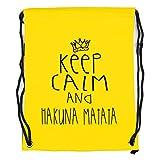 keep calm and hakuna matata Motiv auf Gymbag, Turnbeutel, Sportbeutel, stylisches Modeaccessoire, Tasche, Unisex Rucksack, viele Sprüche und Designs