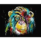 Malen nach Zahlen Kits DIY Leinwand Ölgemälde für Kinder, Studenten, Erwachsene Anfänger - Bunte Monkey16x20 Zoll mit Pinsel und Acrylpigment, Mit Rahmen