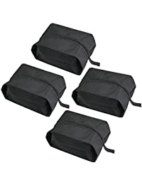 Zilong Bolsas para zapatos con cremallera Portátil Impermeable para viaje,conveniente para zapatos de tipos diferentes Ahorro de espacio negro,4pcs