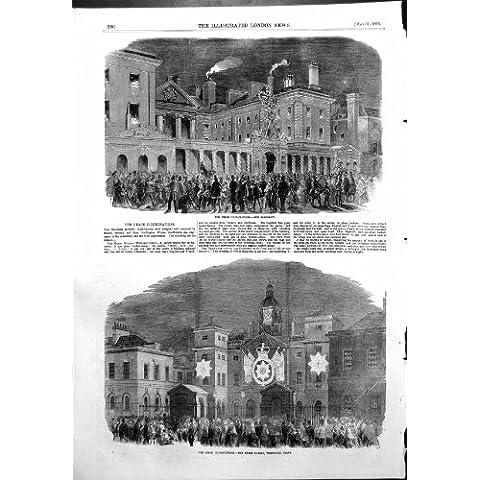 Stampa Antica delle Guardie di Cavallo di Ministero Della Marina di Illuminazioni di Pace Whitehall 1856