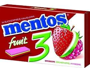 """Mentos Chewing Gum """"3"""" Fruity Fresh Erdbeere / Grüner Apfel / Himbeere, 39.6 g"""