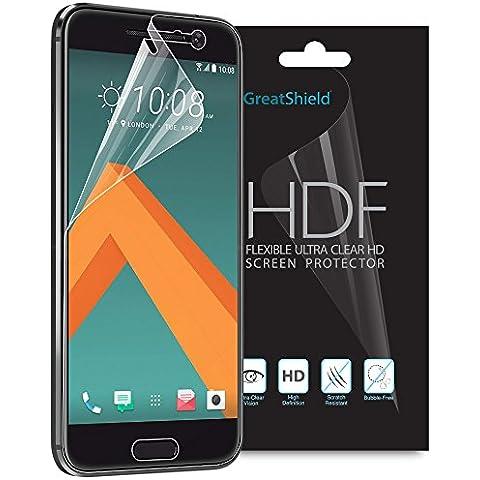 HTC 10 Protector de Pantalla, GreatShield [Ultra Clara HD][Cobertura completa][película de TPU   4H Tecnología] HDF Anti-Burbuja Capa Escudo de silicona para HTC 10 (Paquete de