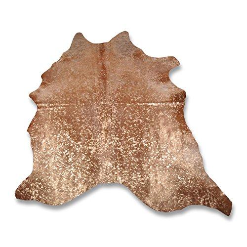Premium Kuhfell-Teppich - L228 x B202 cm - karamell gold gesprenkelt - einmaliges Naturprodukt aus Südamerika