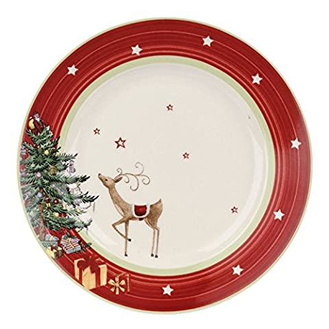 Christmas Jubilee 20 cm Red Band Salad Plate, Set of 4, Multi-Colour