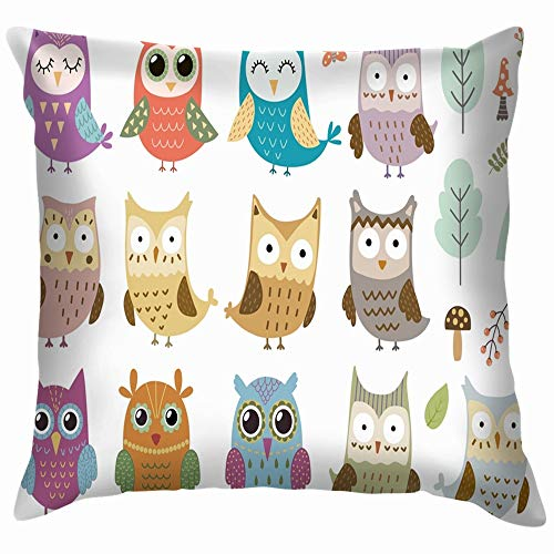 beautiful& Set Cute Isolated Owls Great Animals Wildlife Owl Funny Square Throw Pillow Cases Cushion Cover for Bedroom Living Room Decorative 18X18 Inch