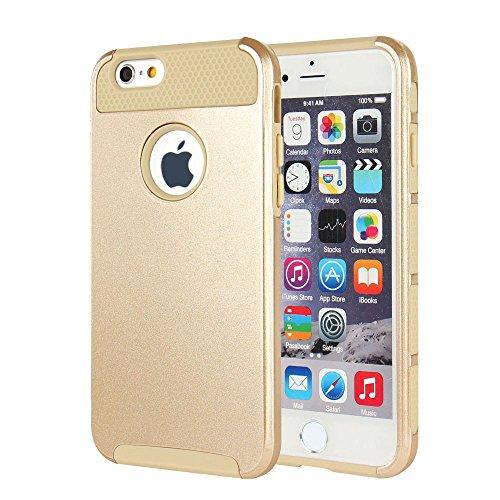 iPhone 7 Plus Hülle, iPhone 8 Plus Hülle, MTRONX Hybrid Schutzhülle Hart Case TPU weiche Silikon Stoßfest Tasche Case Cover für Apple iPhone 7 Plus iPhone 8 Plus - Schwarz/Schwarz(HC-BKBK) Gold & Gold