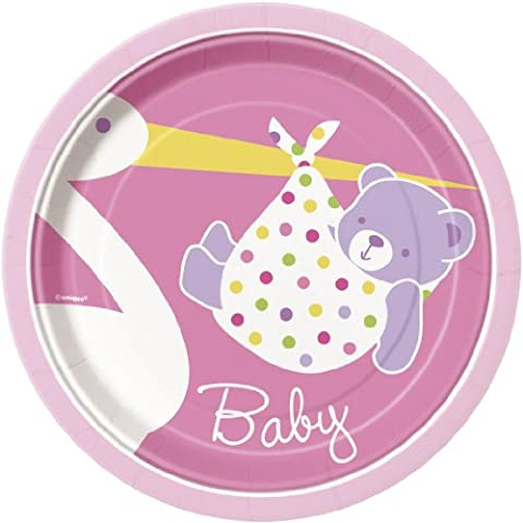 Uk Baby Shower Petites assiettes en carton Motif bébé fille/rose