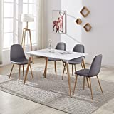 GIZZA Wood Rectangular Dining Table with 4 Retro Metal Chairs Set for Dining Kitchen Breakfast Office Lounge Restaurant Modern Designer (Grey)