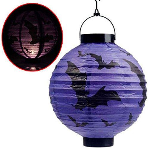 Halloween Hängende Laterne Fledermaus Spinne Kürbis Licht Party Dekor Lampe - Lila - Batterien nicht enthalten (Led Pumpkin Ghost)