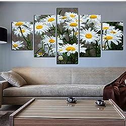Lienzo Decoración para El Hogar Marco De La Pintura Cuadros Modulares HD Impreso 5 Panel Margarita Blanca Flores De Girasol Cartel Sala De Arte De La Pared Imágenes Enmarcadas-Frame