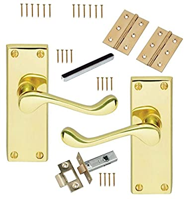 5 Sets Of Victorian Scroll Latch Door Handles Polished Brass Hinges & Latches Pack Sets produced by Eironmongerry - quick delivery from UK.