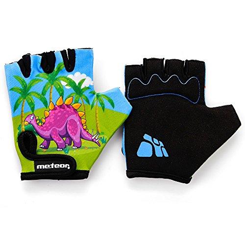 meteor Kid's guantes de ciclismo con cierre de velcro corto de la mitad Dedos los niños Kid Niño Bicicleta Seguridad Accesorios mano proteger Meteor Kids Flor, FLOWER (S - 18 cm - 12 años, dinosaur)