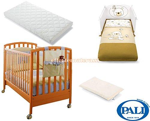 Lettino Pali Ciak ciliegio + materassino Pali Evo + cuscino baby antisoffoco + Set tessile beige